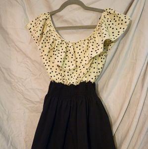 Allegra K size Large Polka Dot Cinched Dress